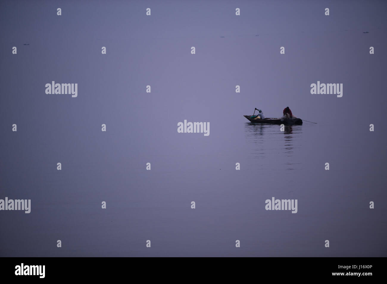 Night fishing on Lake Kivu, Goma, Democratic Republic of Congo - Stock Image
