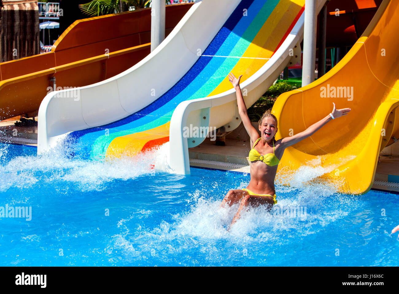 Swimming Pool Slides For Children On Water Slide At Aquapark