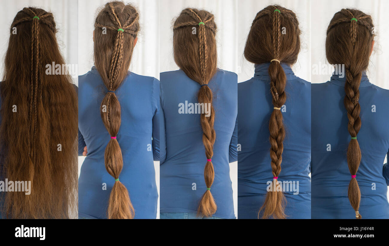 Renaissance hairstyles for long hair. Collection of traditional plait styles modelled by girl with very long golden - Stock Image