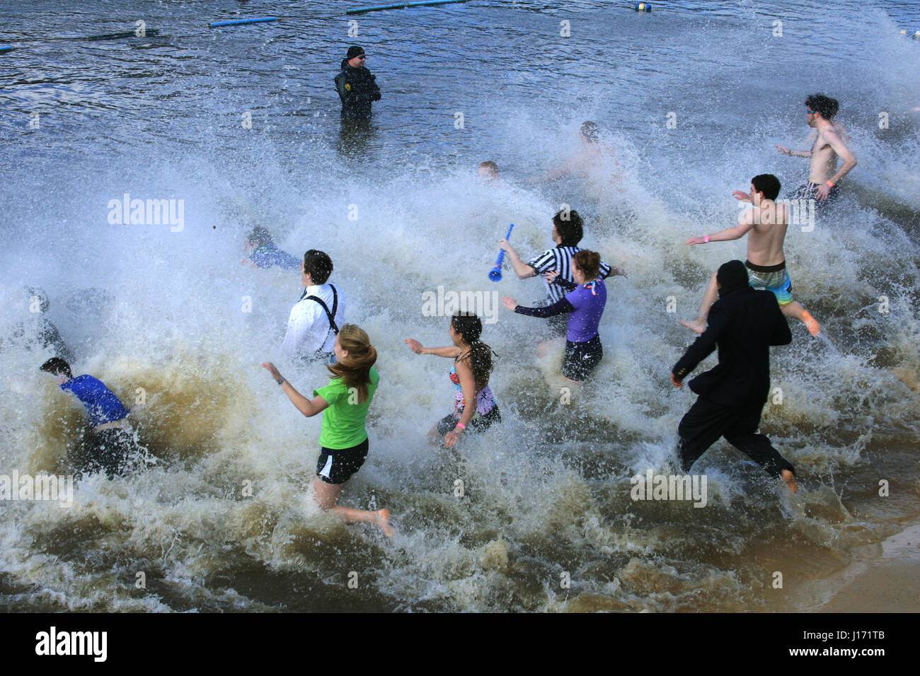 Large group of young people plunging into freezing water in Polar Plunge challenge - Stock Image