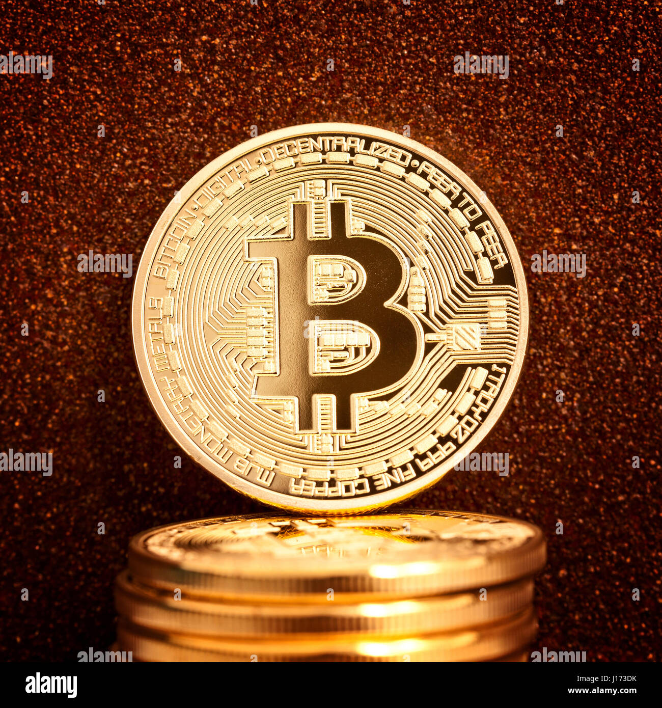 bit-coin coin and rusty metal background - Stock Image