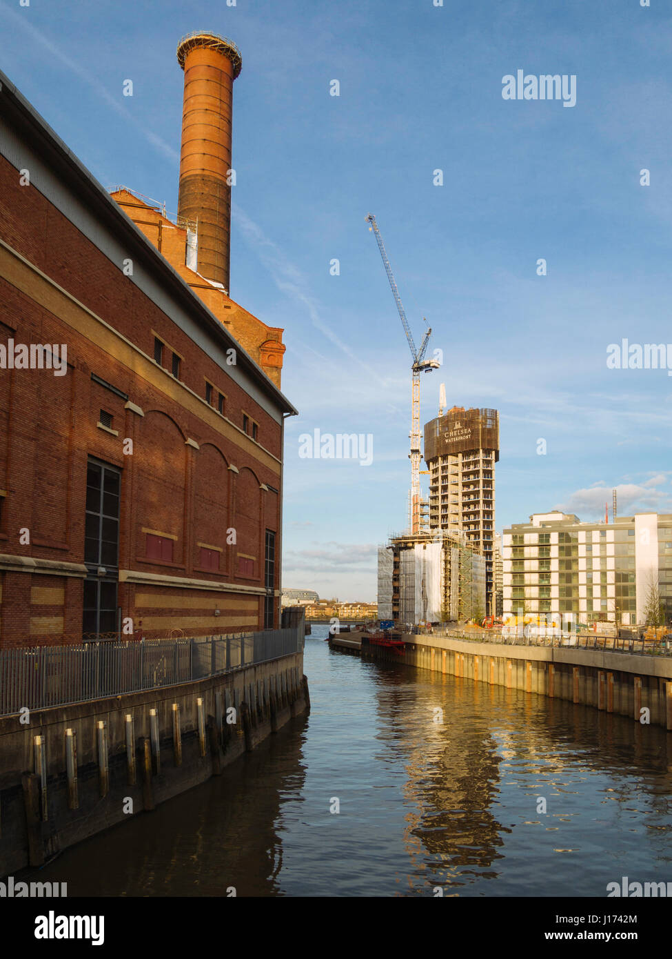 New residential development at Chelsea Reach including the conversion of the Lots Road power station into luxury - Stock Image