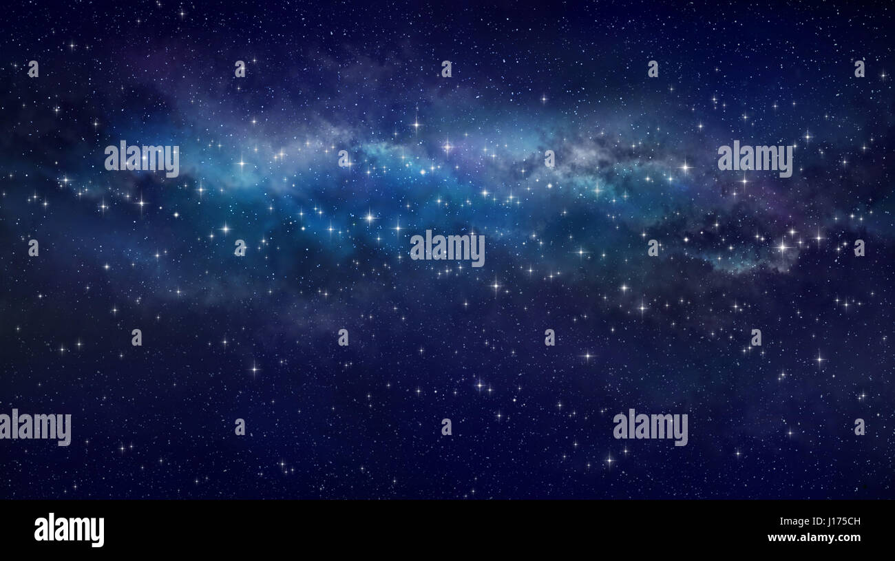 High definition galaxy background, bright stars shining in a milky way - Stock Image