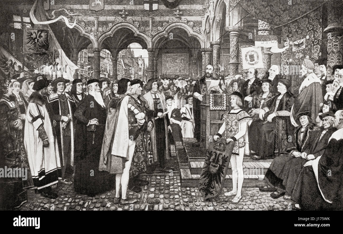 The inaugural ceremony of the Antwerp Exchange, Belgium in 1532.  From Hutchinson's History of the Nations, - Stock Image