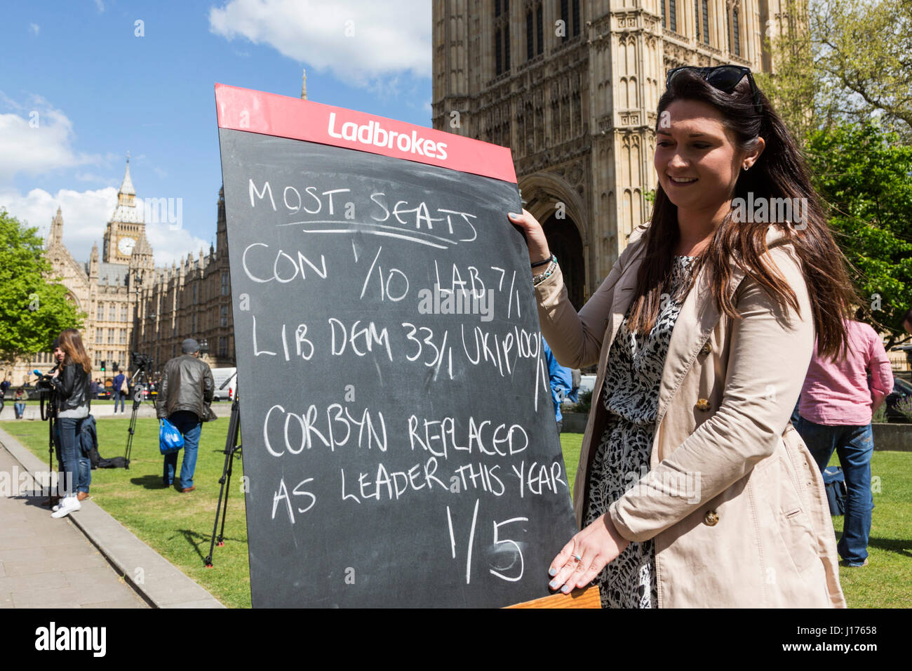 London, UK. 18 April 2017. Jessica Bridge of Ladbrokes displaying the odds for the Snap General Election outside - Stock Image