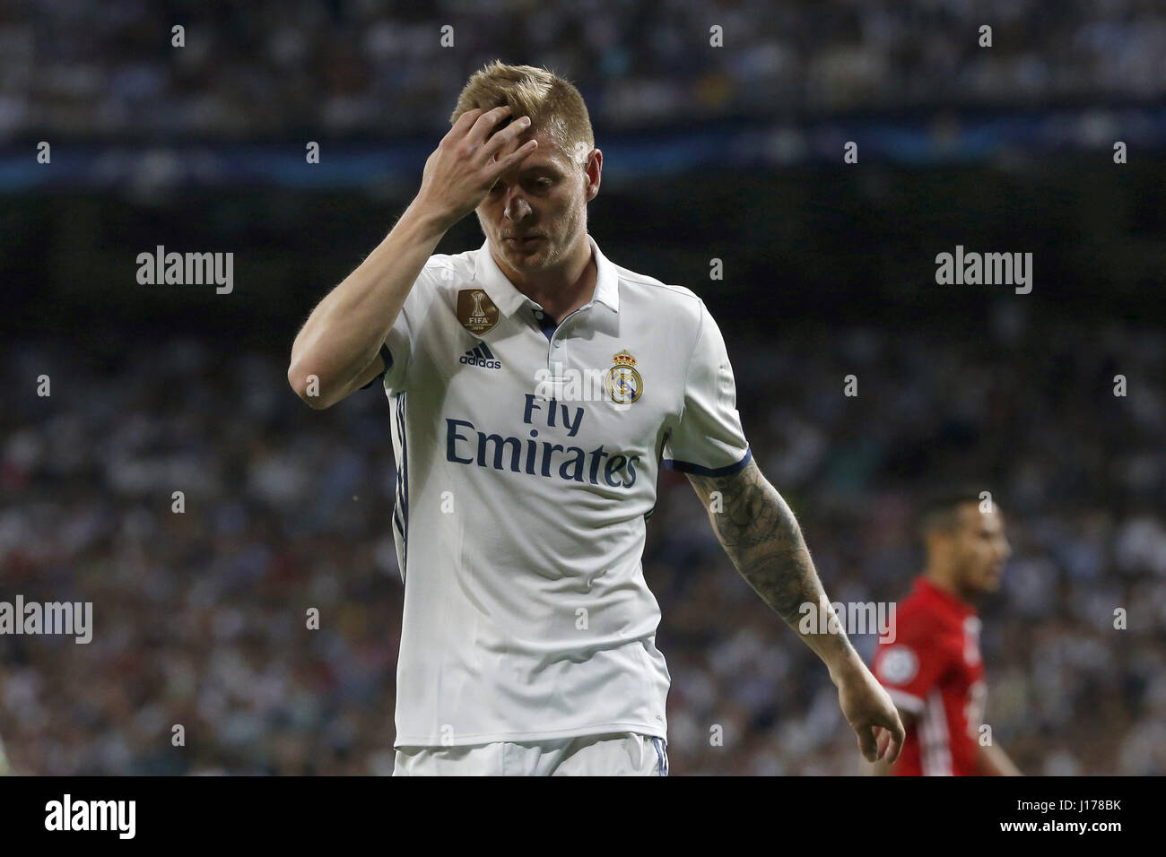 Madrid, Spain. 18th Apr, 2017. Real Madrid's German midfielder Toni Kroos reacts during the UEFA Champions League - Stock Image