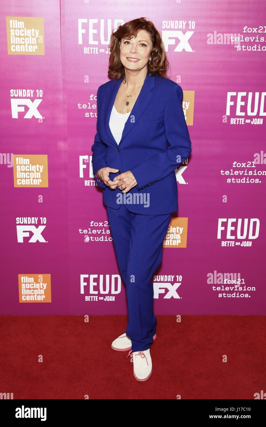New York, NY, USA. 18th Apr, 2017. Susan Sarandon at arrivals for FEUD: BETTE AND JOAN Season Finale Screening, Stock Photo