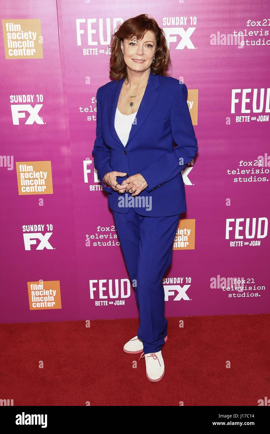 New York, NY, USA. 18th Apr, 2017. Susan Sarandon at arrivals for FEUD: BETTE AND JOAN Season Finale Screening, - Stock Image