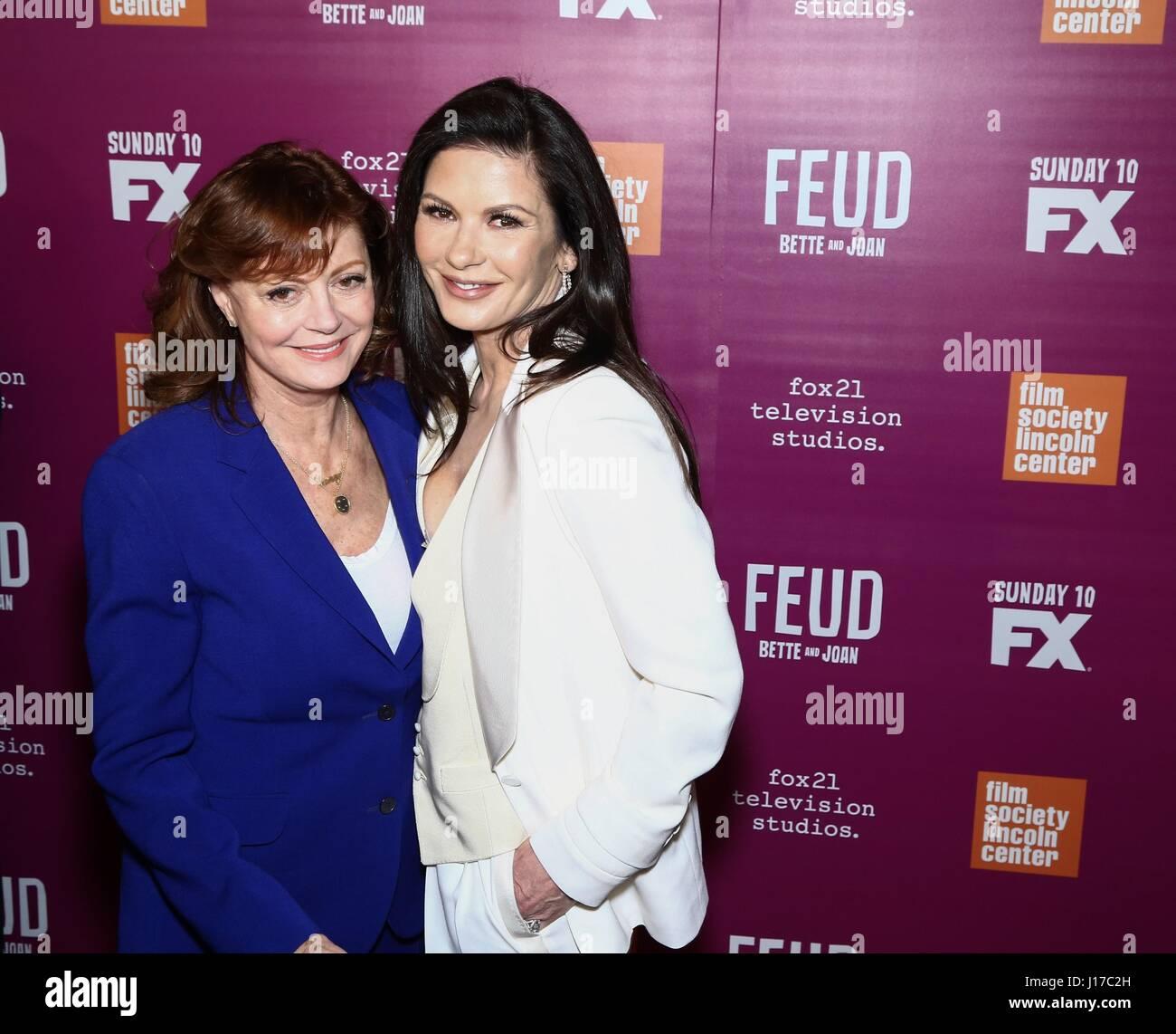New York, NY, USA. 18th Apr, 2017. Susan Sarandon, Catherine Zeta-Jones at arrivals for FEUD: BETTE AND JOAN Season - Stock Image