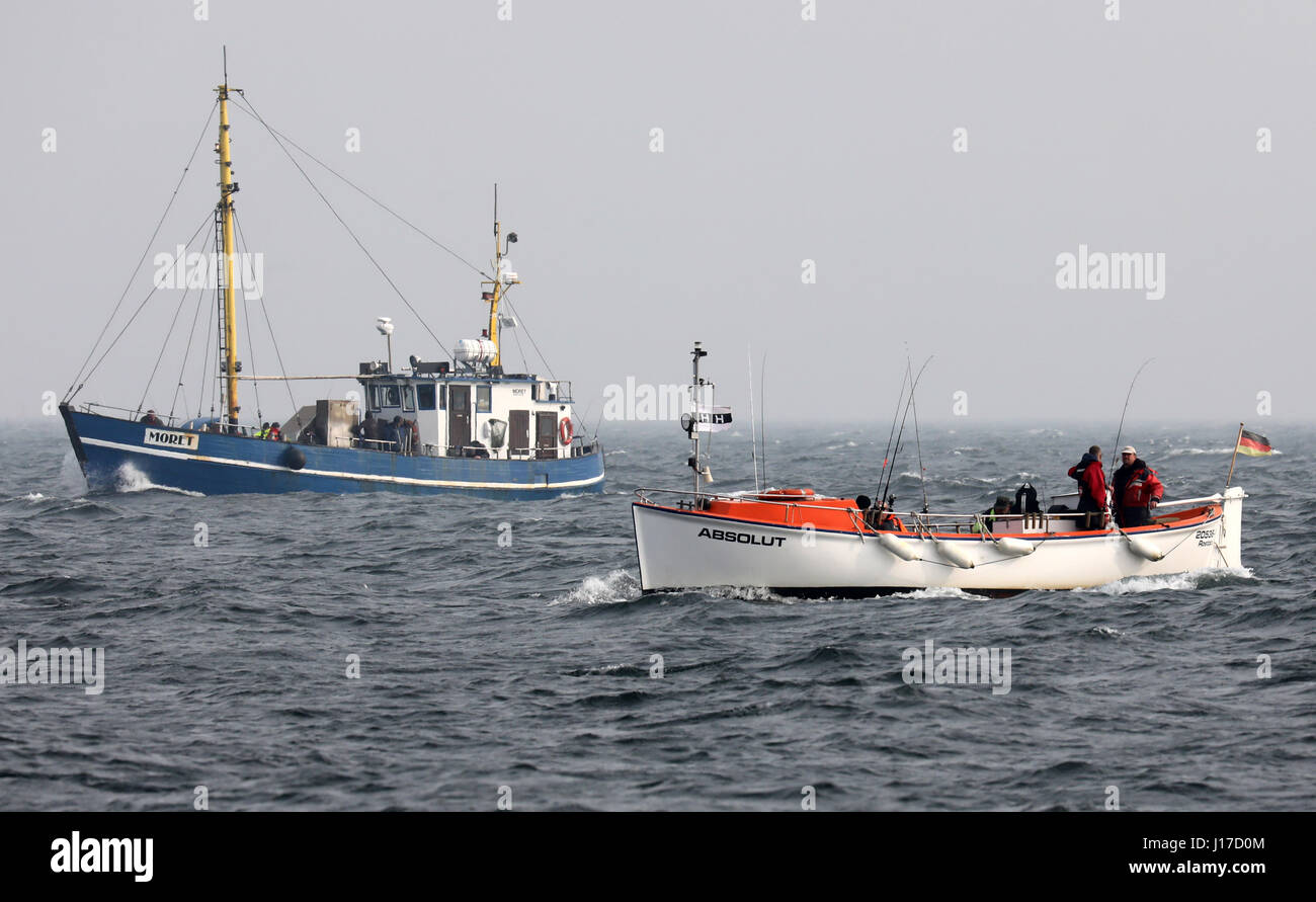 Boats with codfishers can be seen on the Baltic Sea near Warnemuende, Germany, 10 April 2017. For the first time, - Stock Image