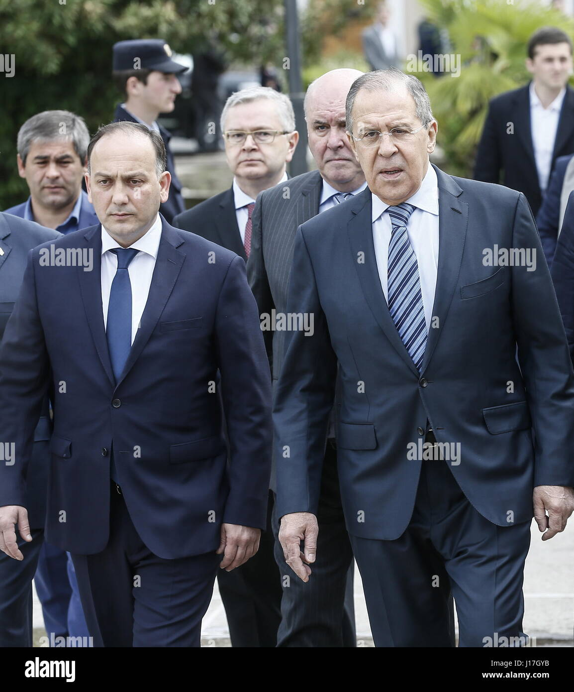 Sukhum, Abkhazia. 19th Apr, 2017. Abkhazia's Minister of Foreign Affairs Daur Kove, Russia's Minister of - Stock Image