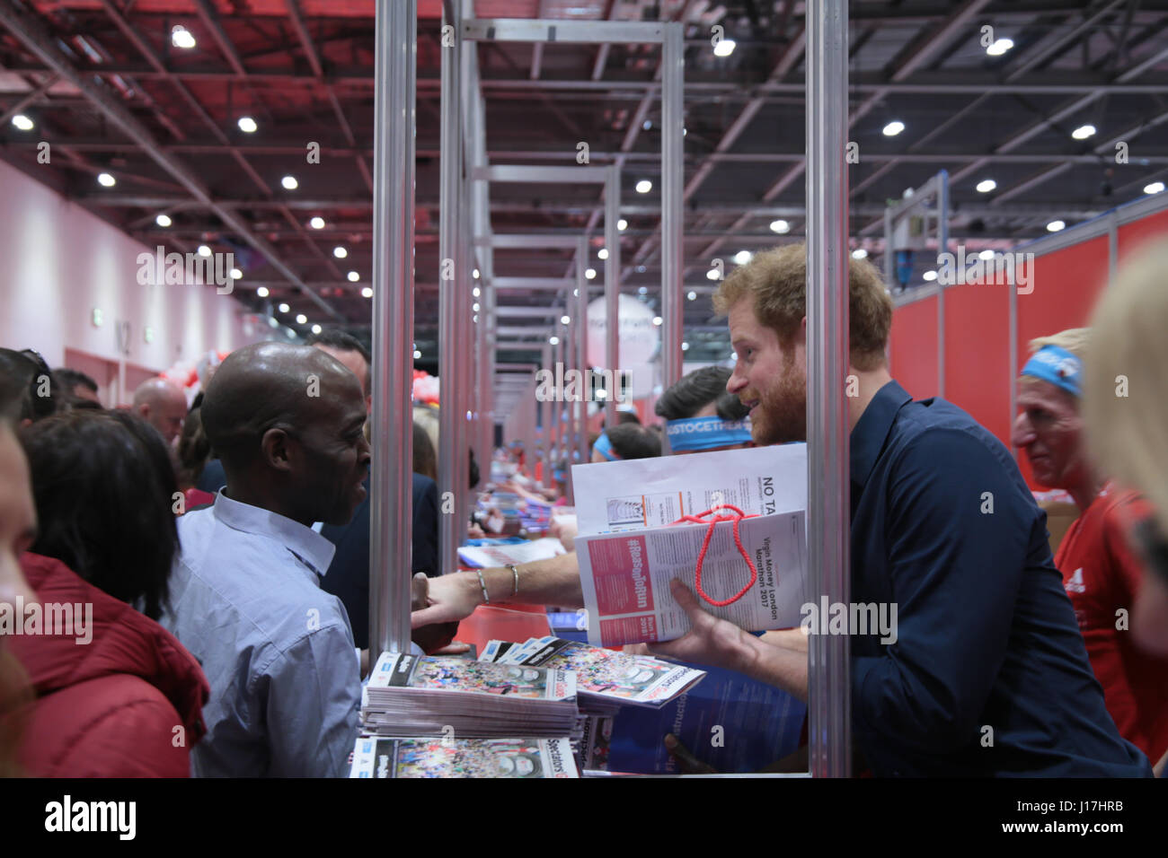 London, UK. 19th Apr, 2017. London Excel Prince Harry at the opening of the 2017 Virgin Money London Marathon Expo Stock Photo