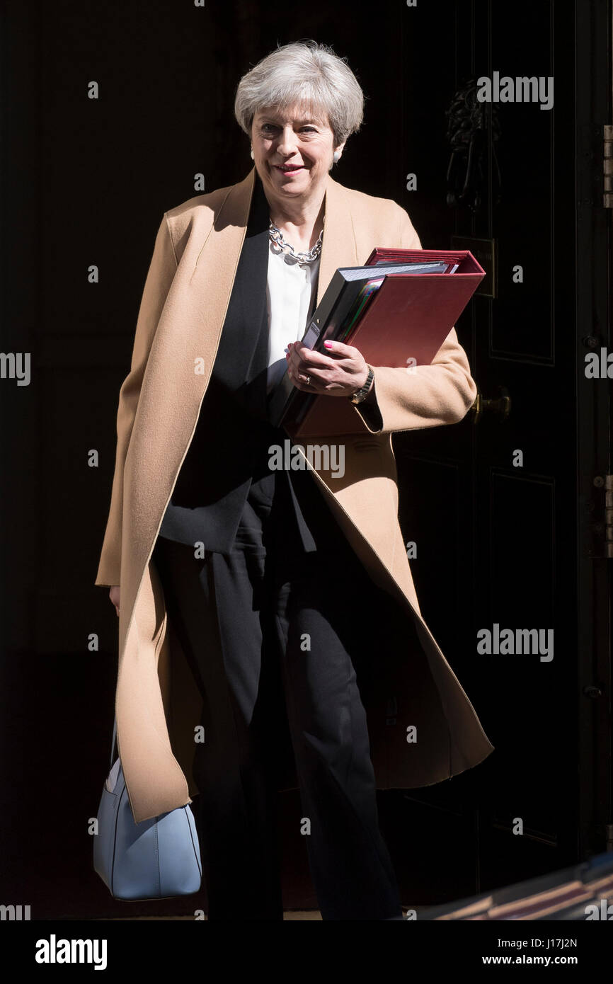 London, UK. 19th Apr, 2017. Theresa May, the British Prime Minister, leaving 10 Downing Street the official residence - Stock Image