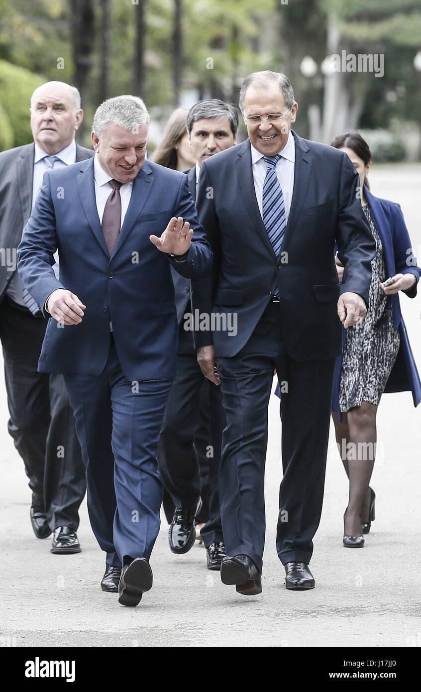 Sukhum, Abkhazia. 19th Apr, 2017. Abkhazia's Prime Minister Beslan Bartsits, Russia's Minister of Foreign - Stock Image