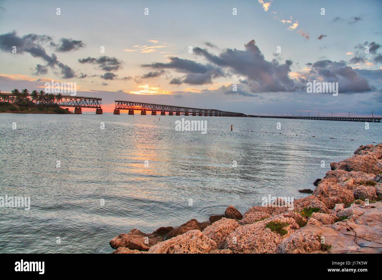 Sunset over the old railroad bridge at Bahia Honda State Park, Florida Keys Stock Photo