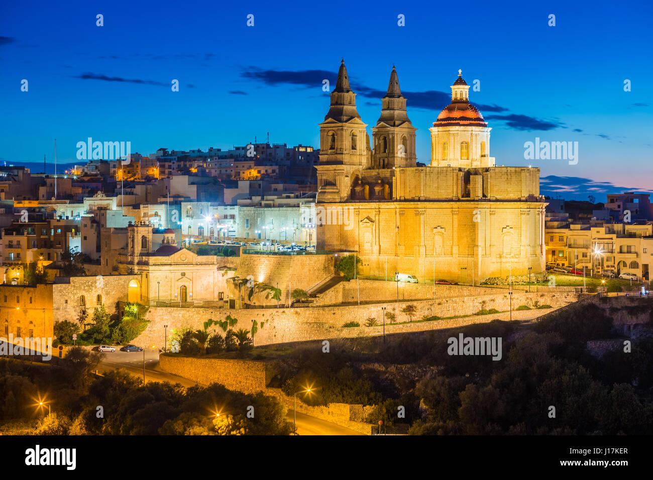 Il-Mellieha, Malta - The Mellieha Parish Church at blue hour - Stock Image