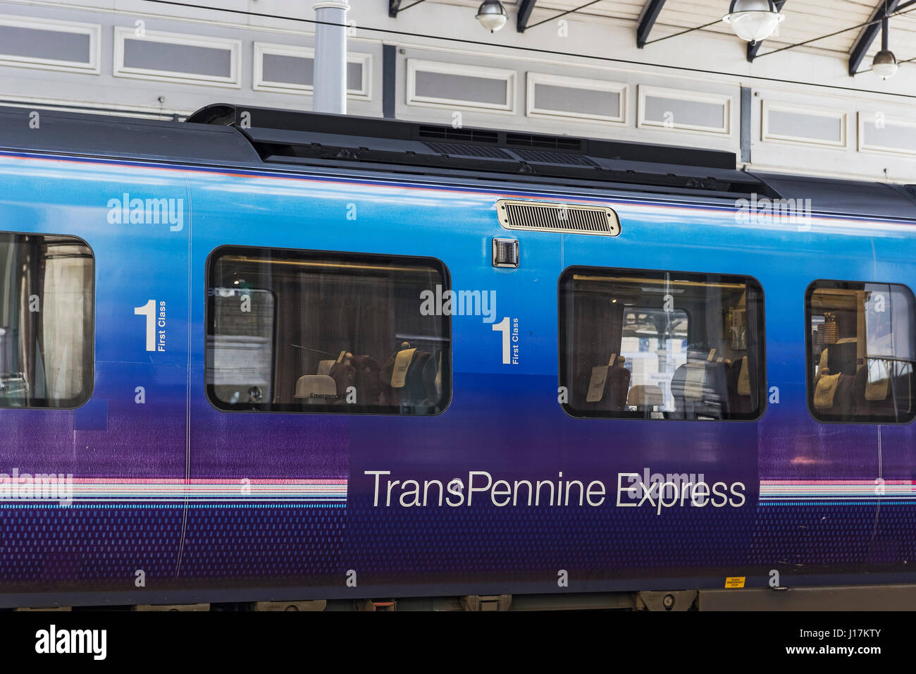 First Class compartment of a TransPennine Express train at Newcastle station - Stock Image