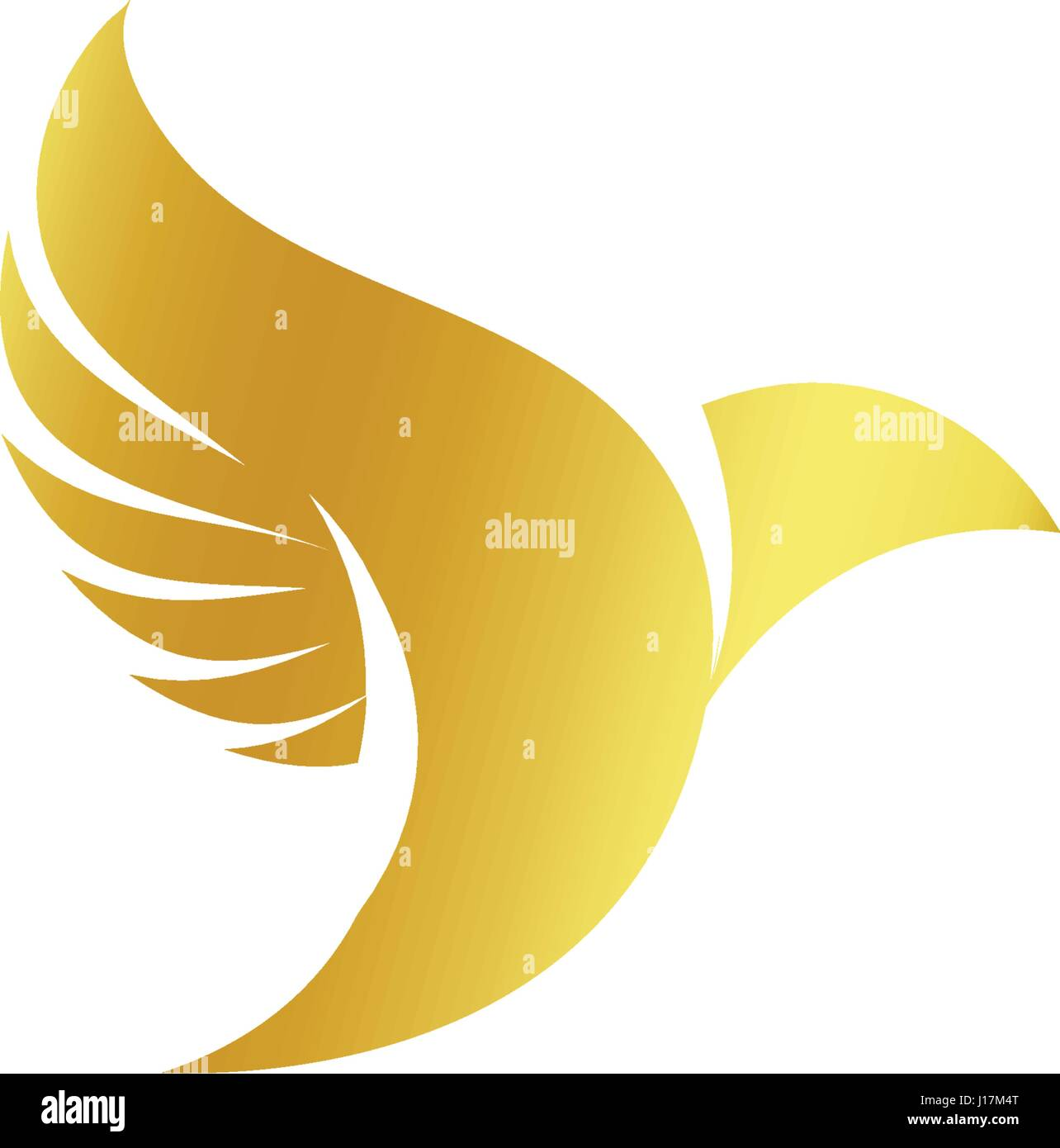 Isolated Abstract Gold Color Birds Silhouettes Logo On White Stock