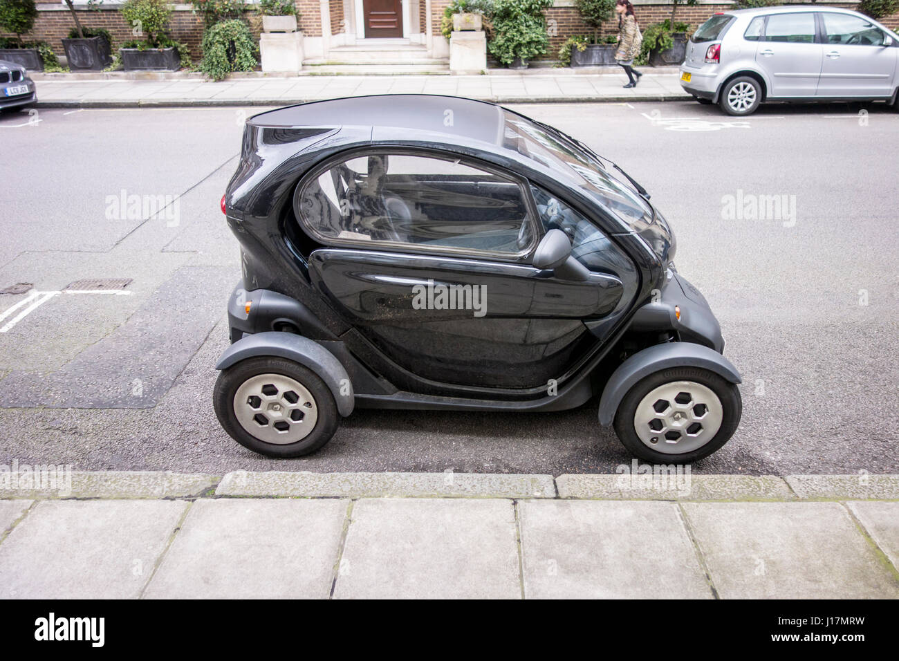 Renault Twizy small electric vehicle / car parked on a London street, UK - Stock Image