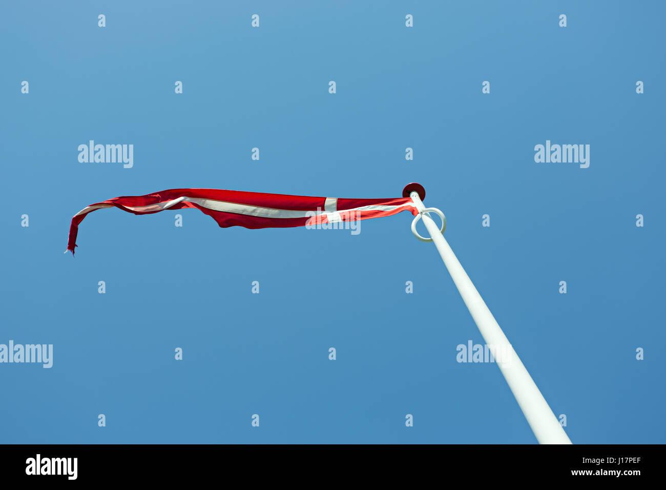 Flag of Denmark in the wind - DANNEBROG - Stock Image