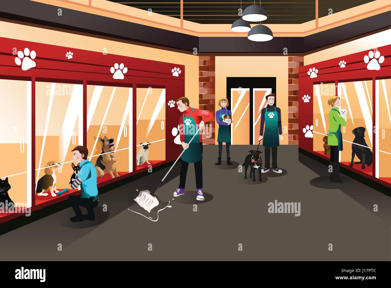 A vector illustration of people working in animal shelter - Stock Vector