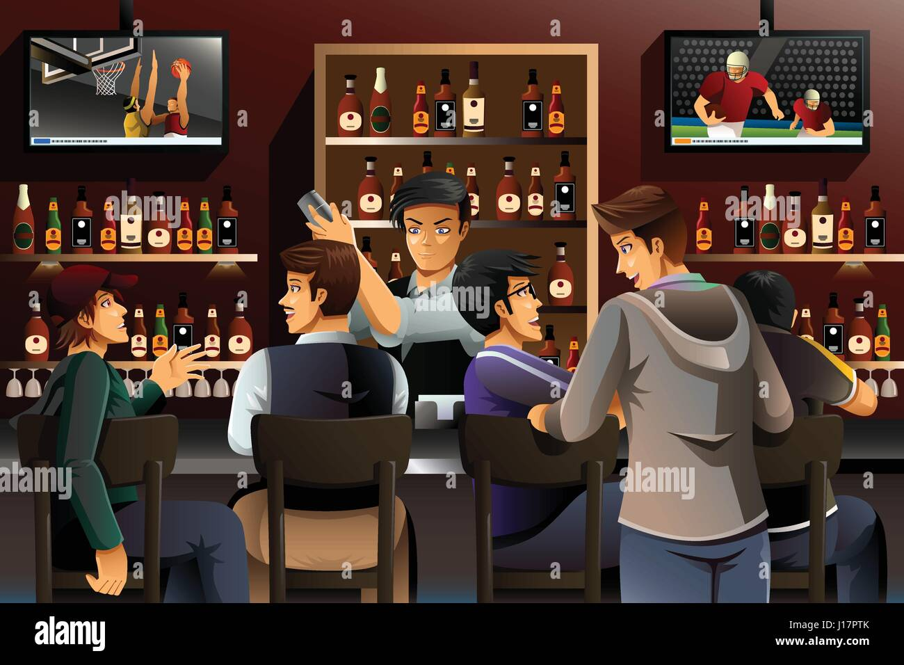A vector illustration of people hanging out in a bar - Stock Vector