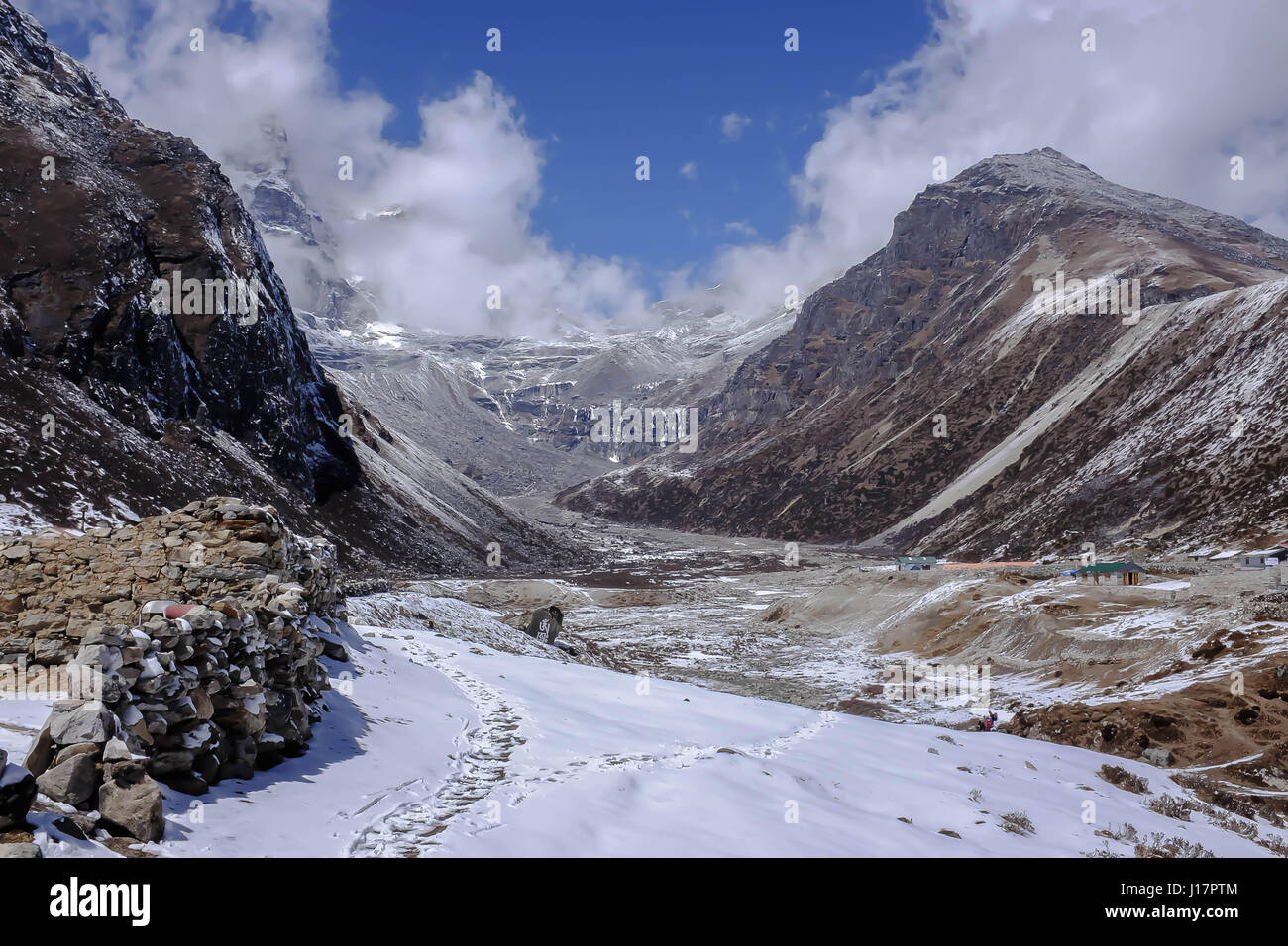 From a hike in the Everest region from lukla to Gokyo, Gokyo Ri and Mt Everest Base camp - Stock Image