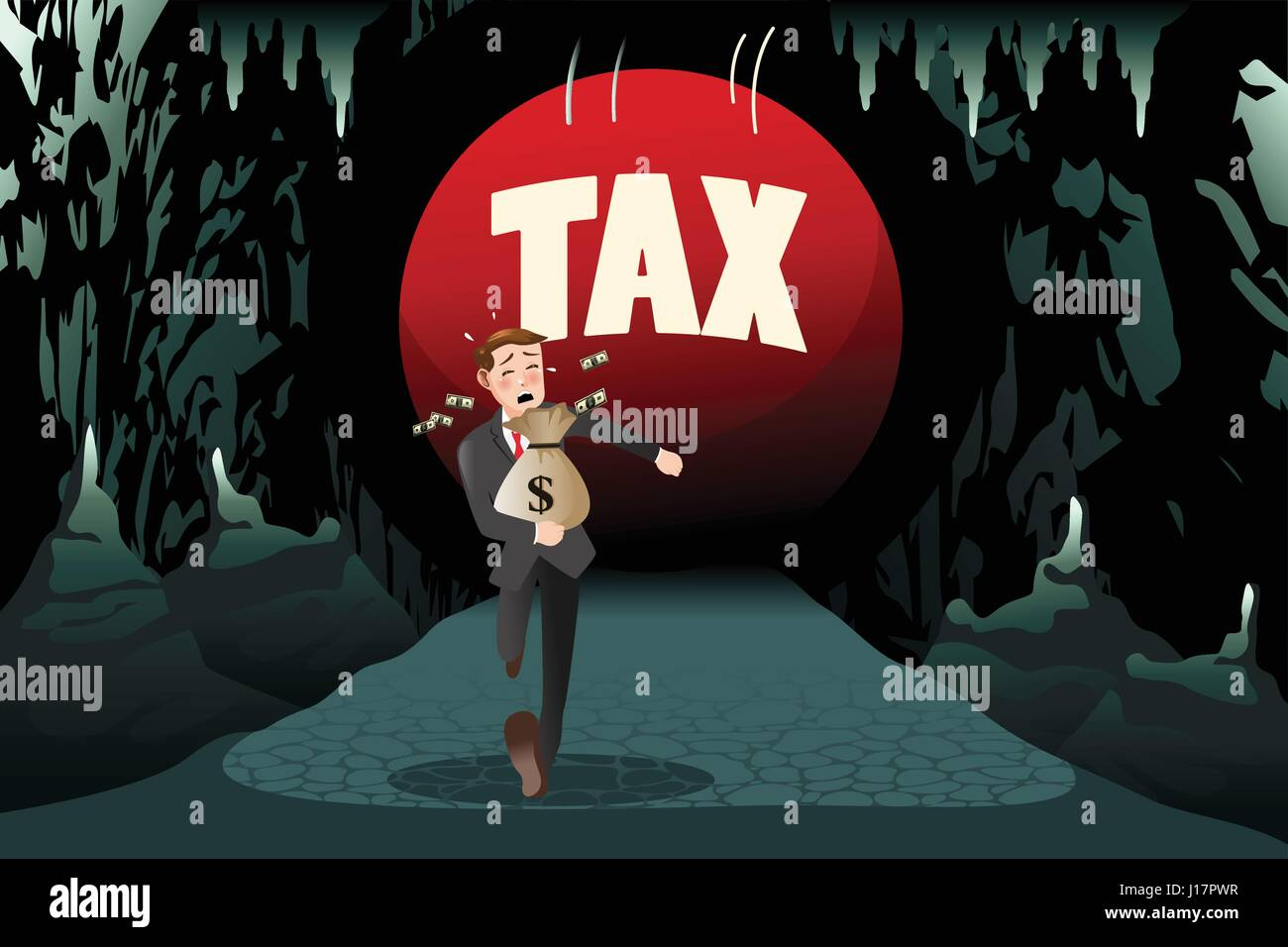 A vector illustration of businessman running away from tax for tax concept Stock Vector