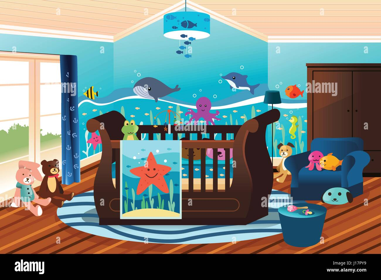 A vector illustration of baby nursery room with undersea theme - Stock Vector