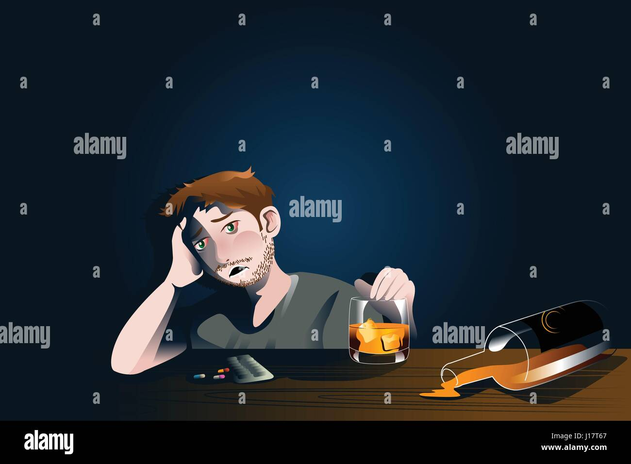 A vector illustration of drunk man with bottle of alcohol for emotional crisis concept - Stock Vector