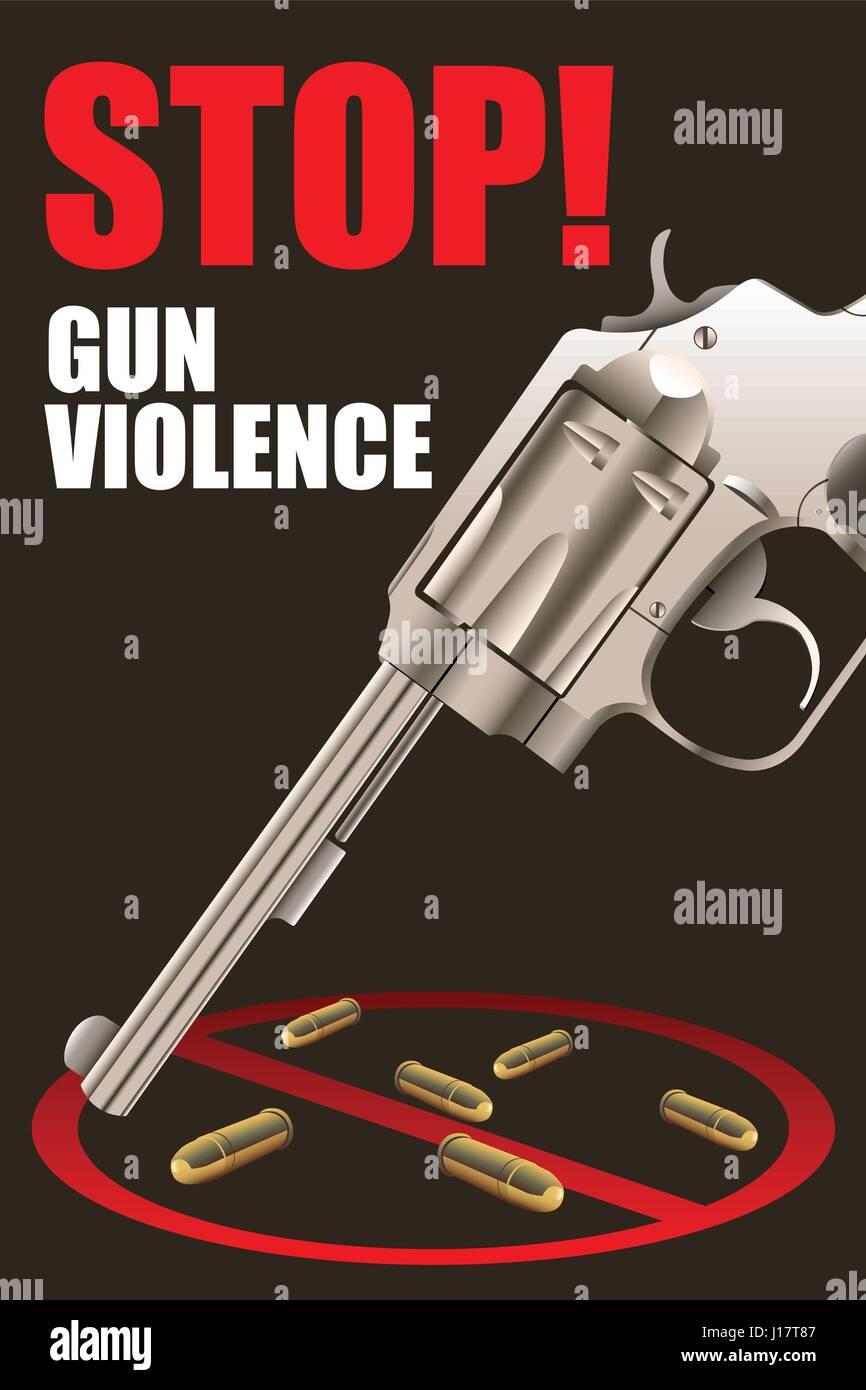 A vector illustration of stop gun violence poster design - Stock Vector