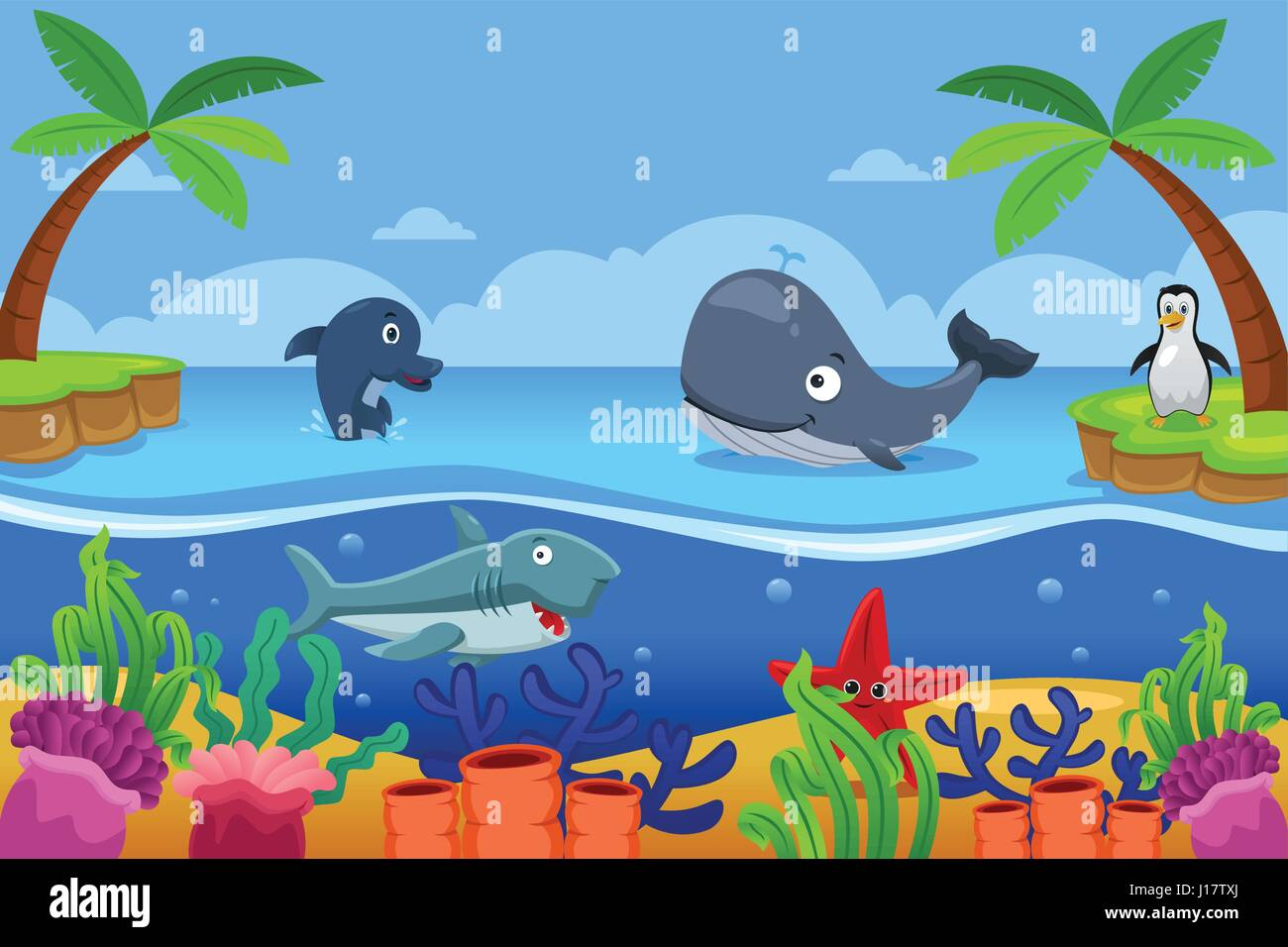 A vector illustration of marine life in the ocean - Stock Vector