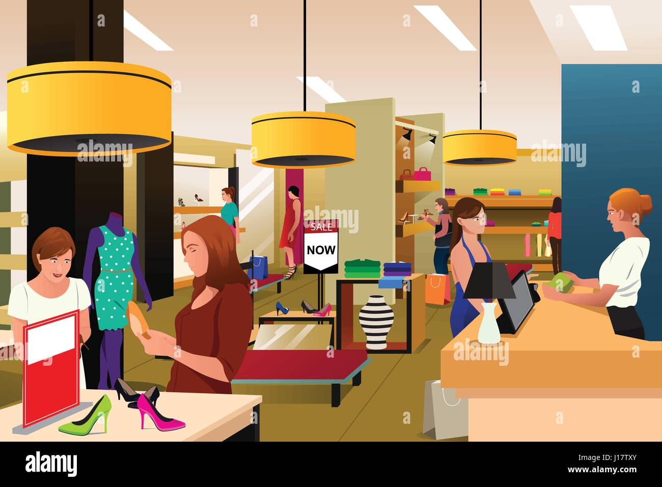a vector illustration of women shopping in a clothing store stock