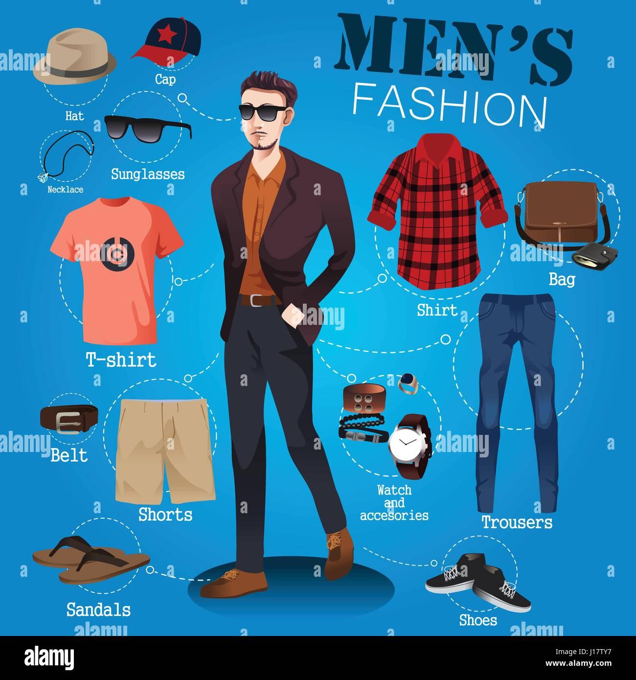 4e8496e7 A vector illustration of men fashion infographic Stock Vector Art ...