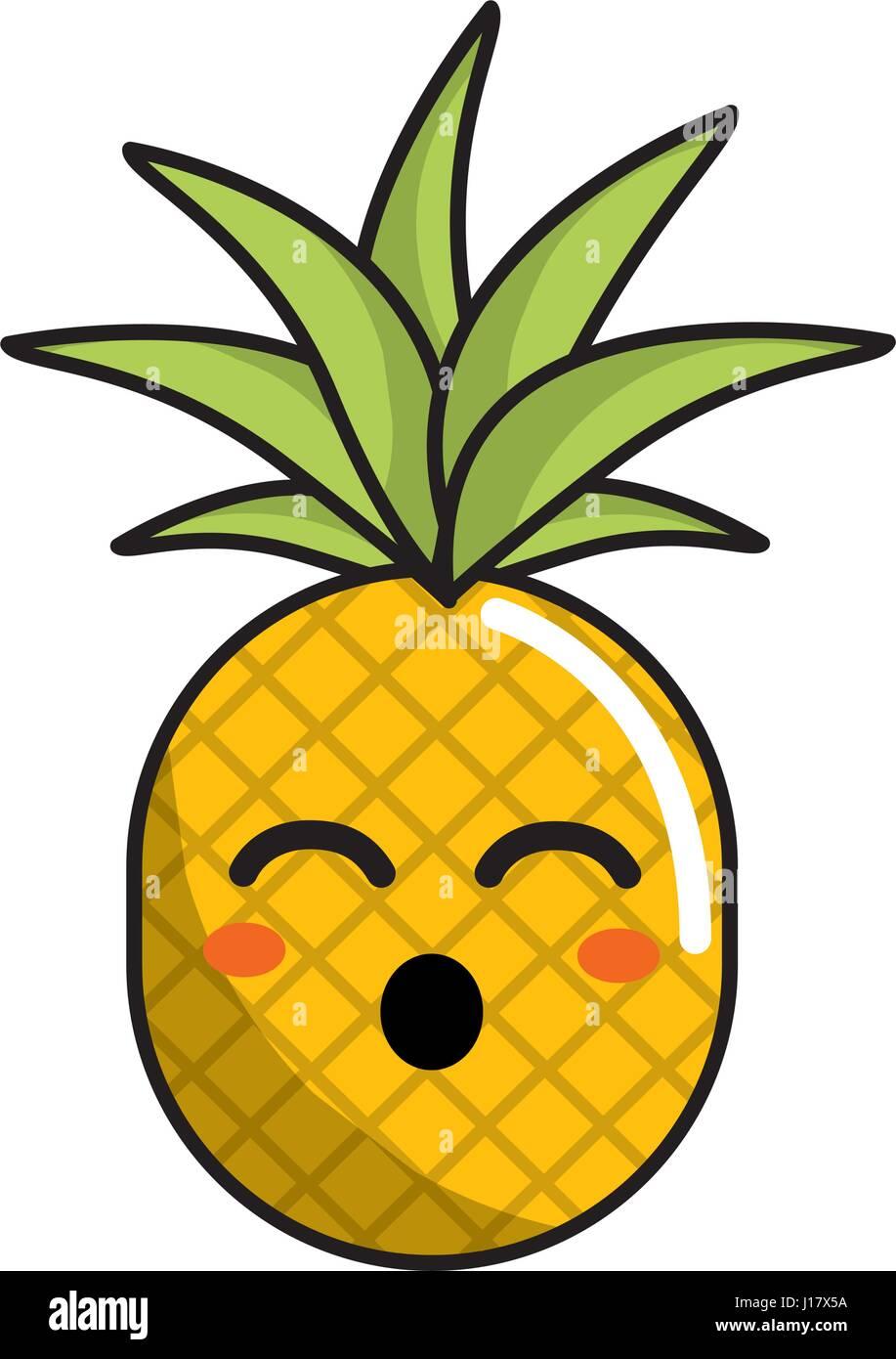 Kawaii Cute Funny Pineapple Vegetable Stock Vector Art