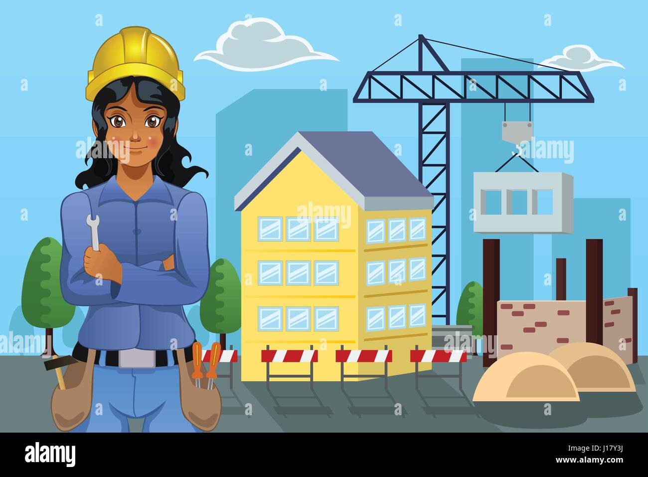 A vector illustration of female contractor standing in front of a house Stock Vector