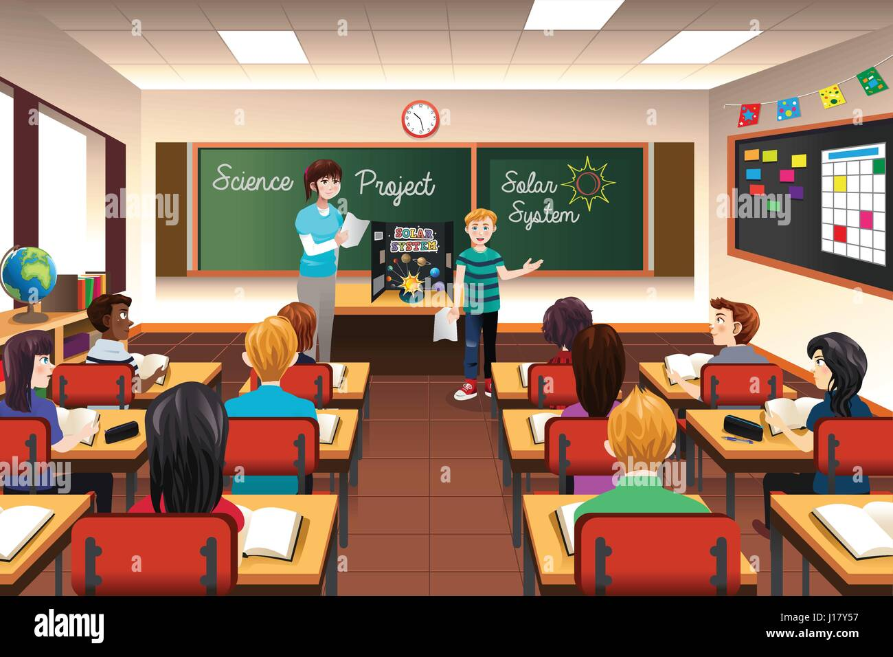 a vector illustration of student having science project presentation