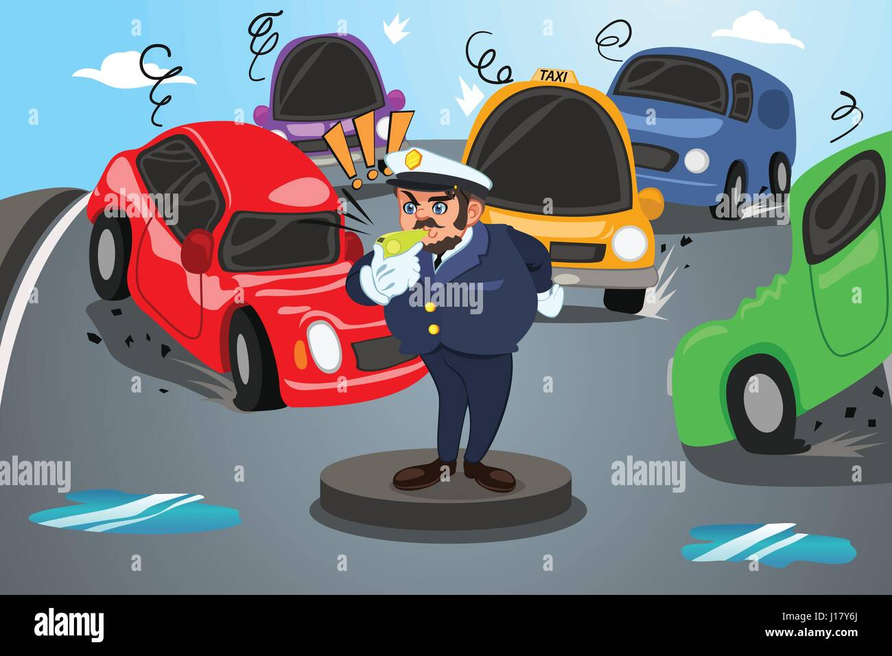 A vector illustration of police officer directs traffic on a busy city - Stock Vector