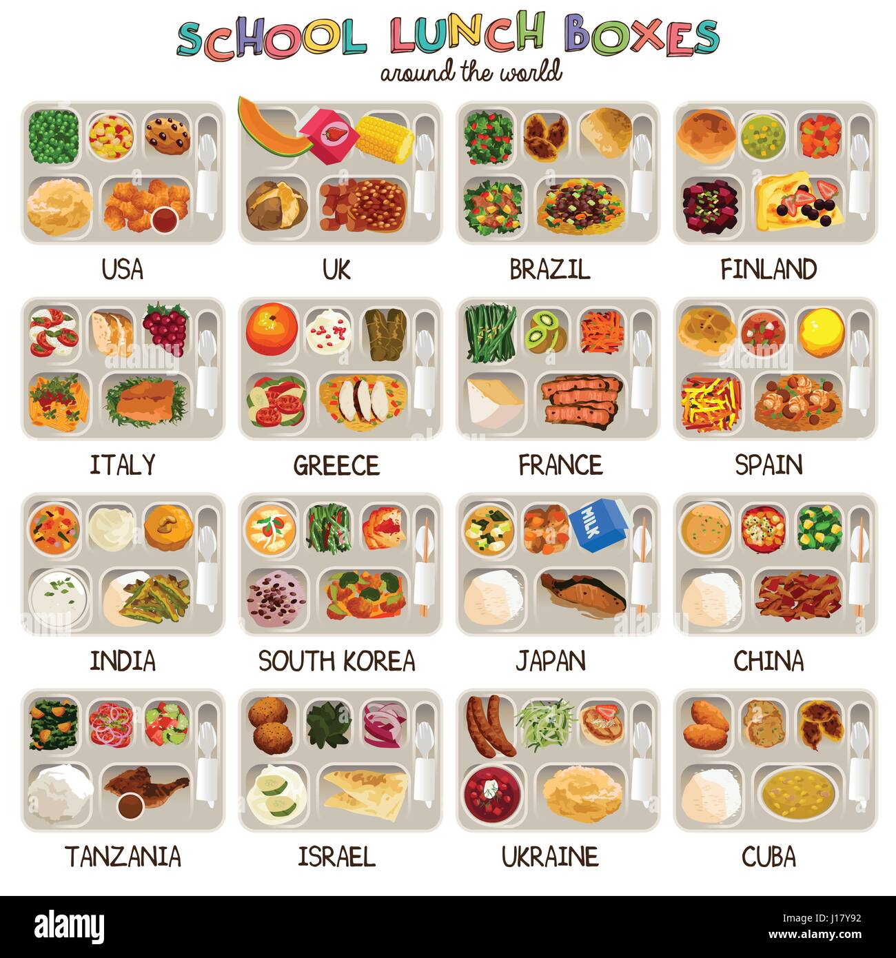 A vector illustration of school lunch boxes around the world - Stock Vector
