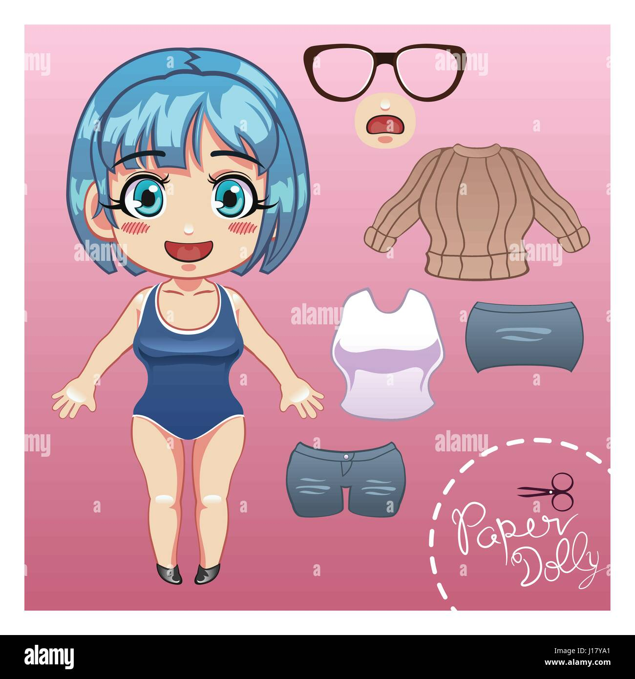 A vector illustration of cut dress up paper doll template Stock ...