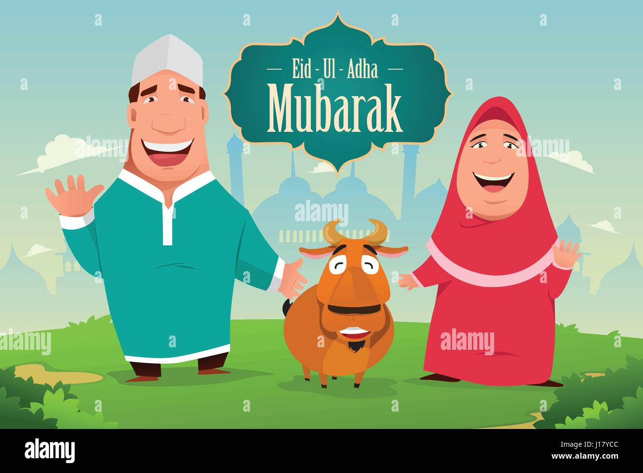 A Vector Illustration Of Eid Ul Adha Mubarak Greeting Card Design
