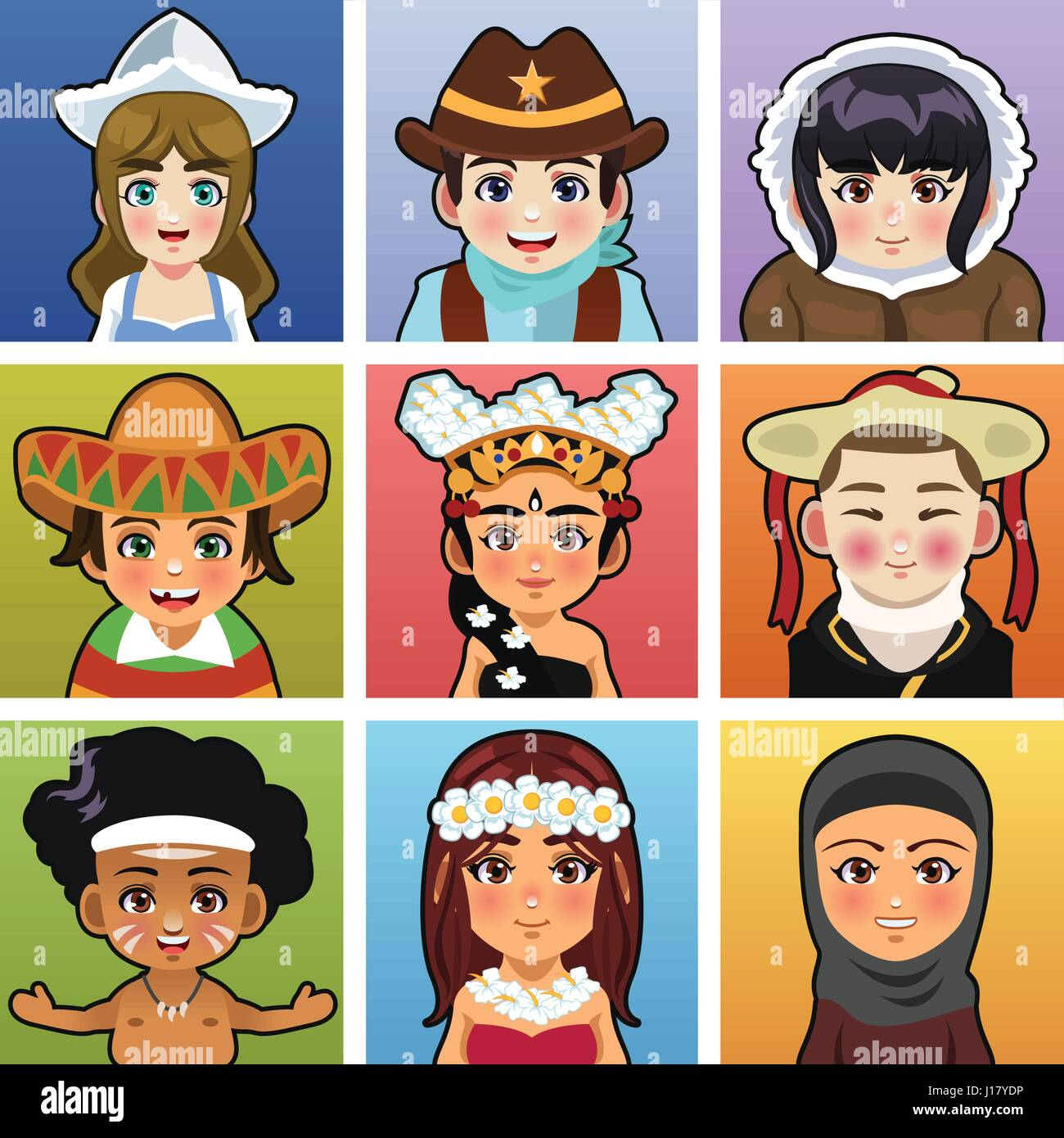 A vector illustration of children from different parts of the world wearing traditional clothing - Stock Vector