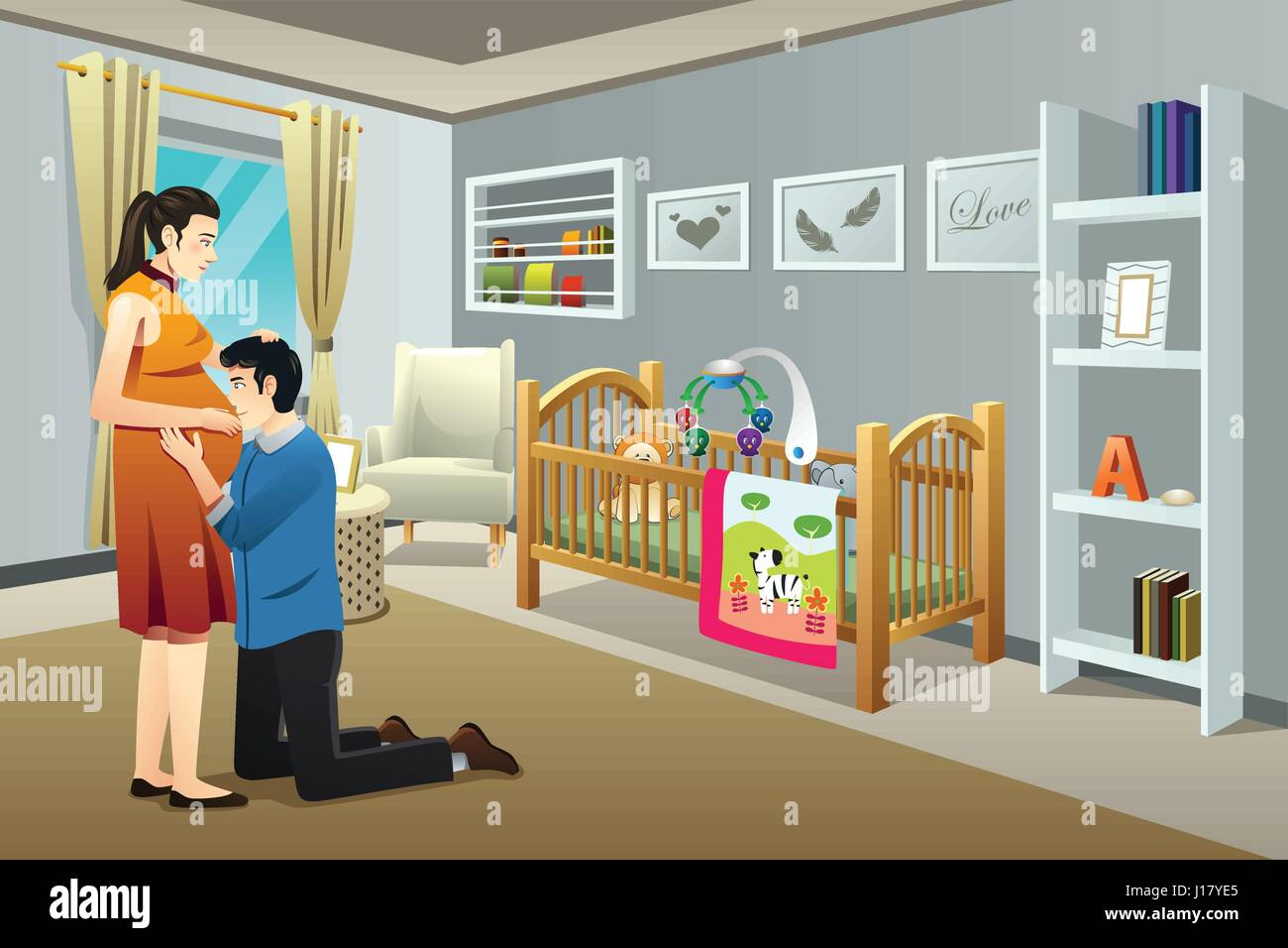 A vector illustration of a Pregnant Woman with Her Husband in the Nursery Room - Stock Vector