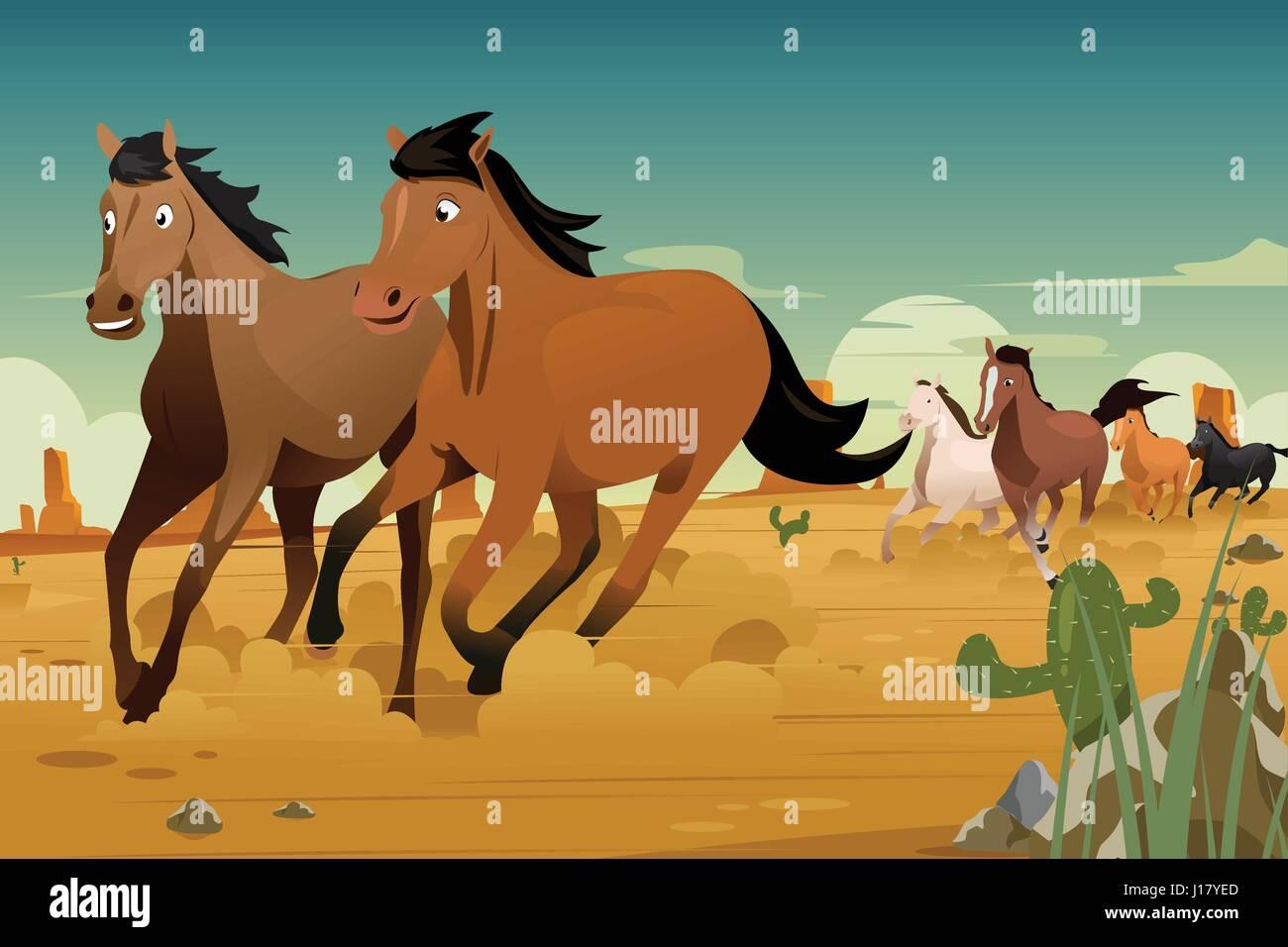 A Vector Illustration Of Wild Horses Running On The Desert Stock Vector Image Art Alamy