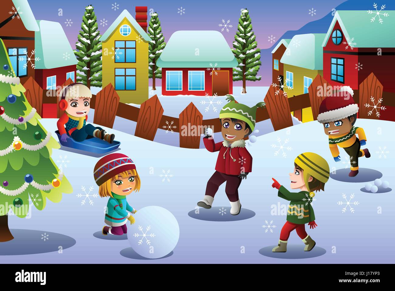 A vector illustration of Kids Playing in the Snow During Winter Season - Stock Image