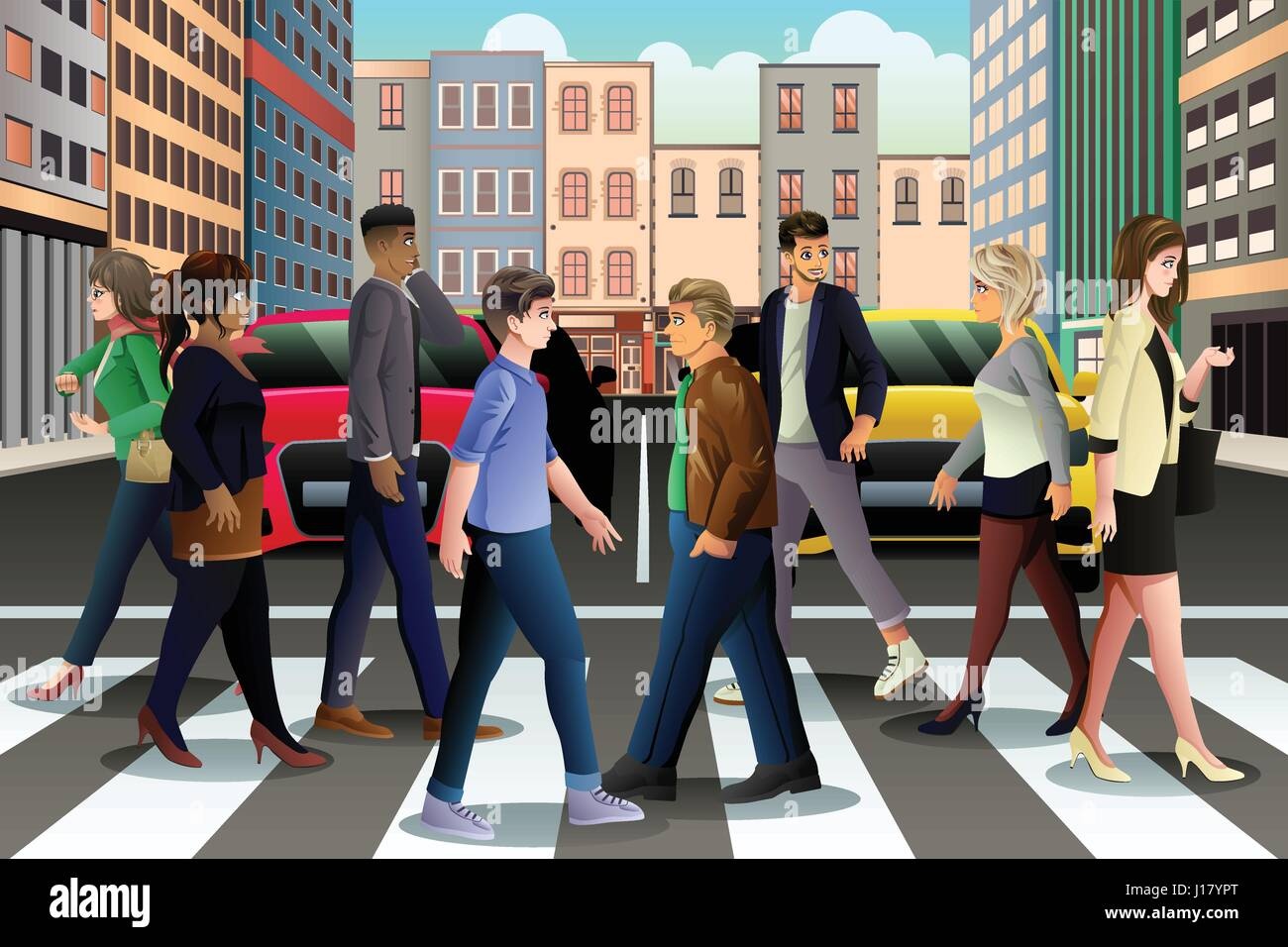 A vector illustration of City People Crossing the Street During Rush Hour - Stock Vector