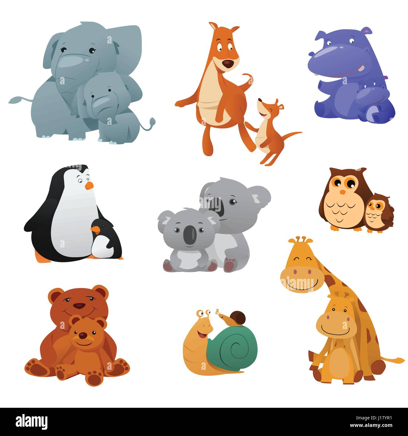 a vector illustration of wild animals and their young baby stock
