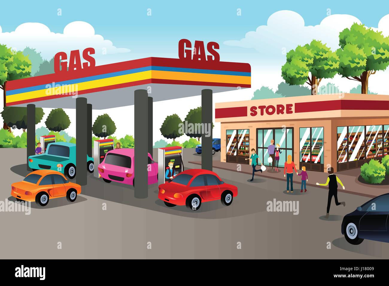 a vector illustration of people at gas station and stop sign clip art free downloads clipart of stop sign