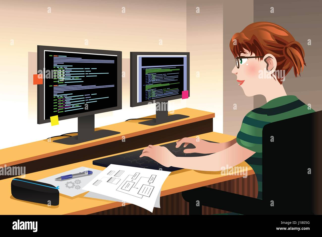 A Vector Illustration Of Female Programmer Coding On A Computer