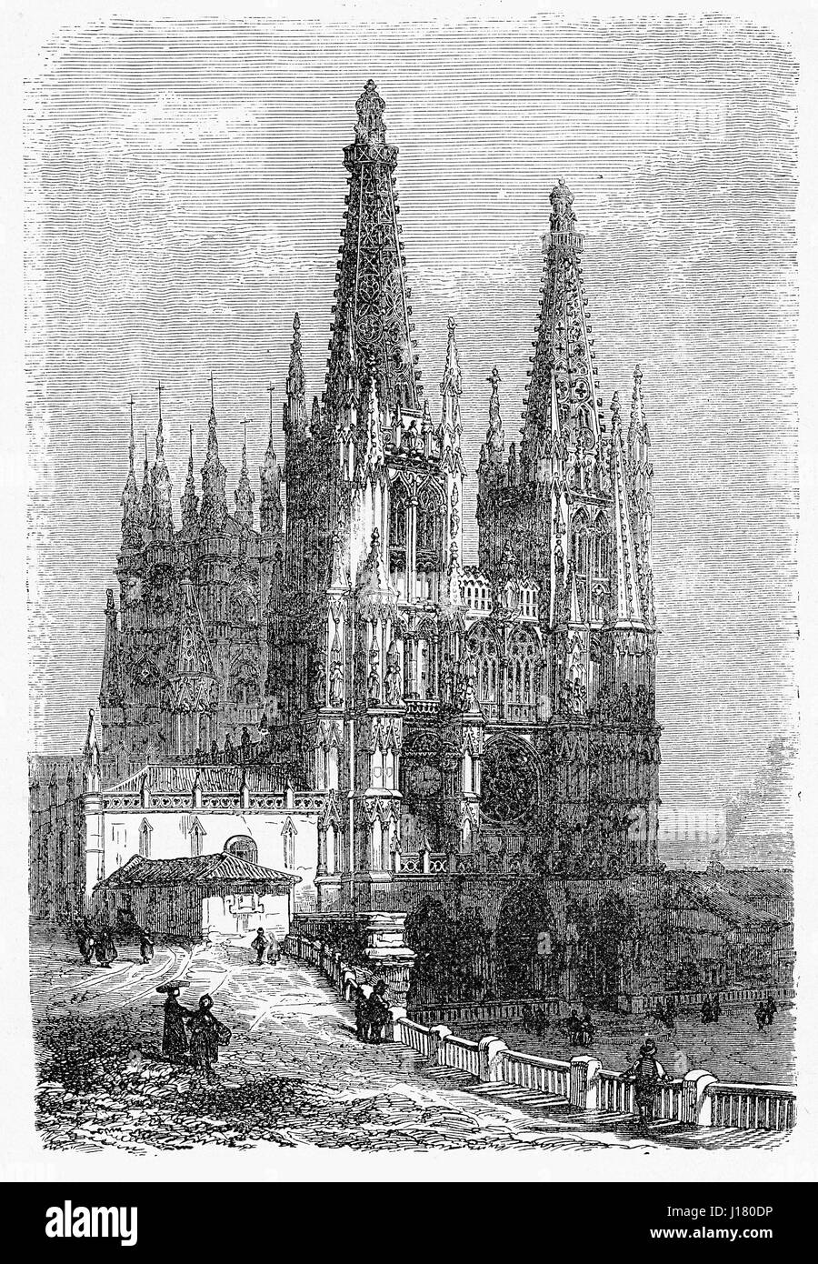 Vintage engraving of Cathedral of St. Mary of Burgos in Gothic style, dating 1221 - Stock Image
